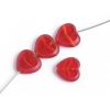 Fire polished Cut Heart 10x10mm. Transparent red/yellow Stripe/matteedge